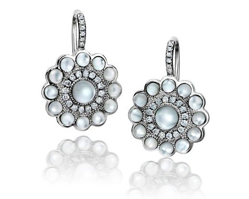 Mother of Pearl Diamond Earrings